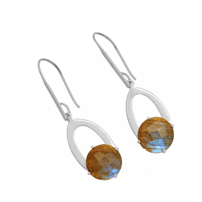 925 Sterling Silver Labradorite Round Shape Gemstone Gold Plated Dangle Earrings