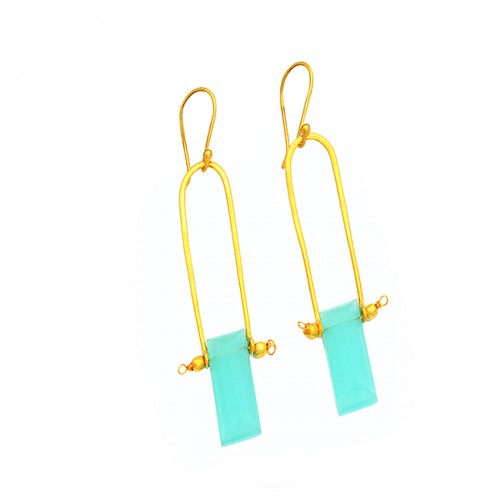 Handcrafted Designer Chalcedony Gemstone 925 Sterling Silver Gold Plated Earrings