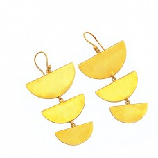 925 Sterling Silver Plain Handmade Designer Gold Plated Earrings