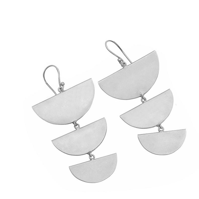 925 Sterling Silver Plain Handmade Designer Gold Plated Earrings