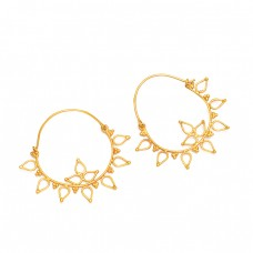 Handmade Flower Shape Plain Designer 925 Sterling Silver Gold Plated Hoop Earrings