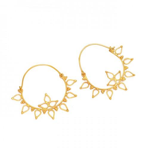 Handmade Flower Shape Plain Designer 925 Sterling Silver Gold Plated Hoop Earrings