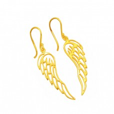 Filigree Style Plain Handmade Designer 925 Sterling Silver Gold Plated Earrings