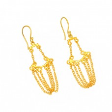 Handcrafted Designer Plain Chain dangle 925 Sterling Silver Gold Plated Earrings