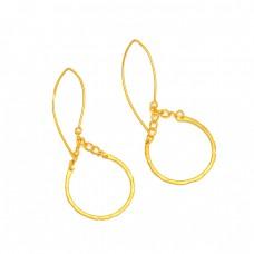 925 Sterling Silver Plain Designer Gold Plated Dangle Hoop Earrings