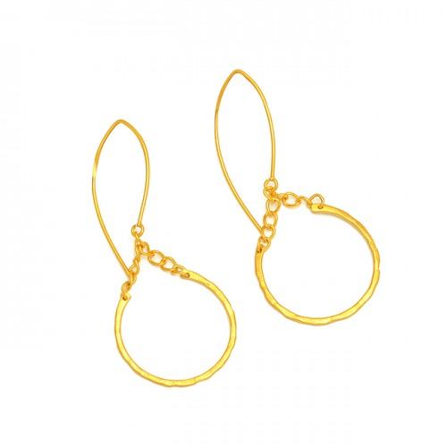 925 Sterling Silver Plain Designer Gold Plated Dangle Hoop Earrings