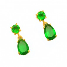 Round Pear Shape Green Quartz Gemstone 925 Sterling Silver Gold Plated Stud Earrings