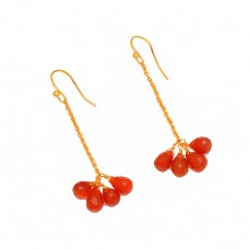 Red Onyx Pear Drops Shape Gemstone 925 Sterling Silver Gold Plated Chain Earrings