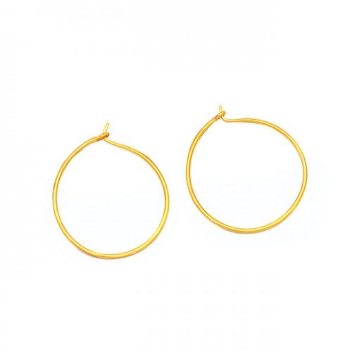 Stylish Handmade Designer Plain 925 Sterling Silver Gold Plated Hoop Earrings