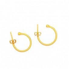 925 Sterling Silver Unique Handmade Designer Plain Gold Plated Hoop Earrings
