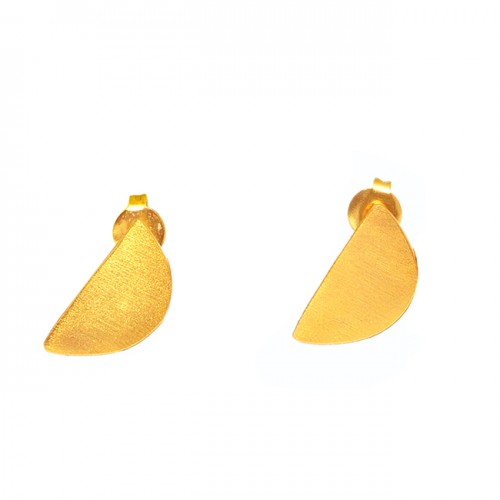 Fashionable Plain Handmade Designer 925 Sterling Silver Gold Plated Stud Earrings