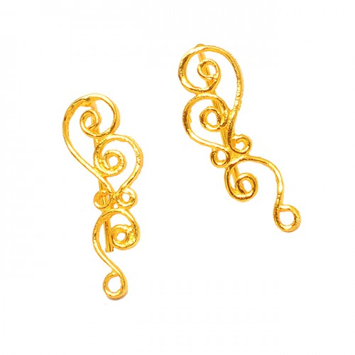 Stylish Handcrafted Designer Plain Unique 925 Sterling Silver Gold Plated Earrings