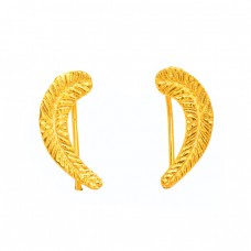 Latest Plain Handmade Designer 925 Sterling Silver Gold Plated Earrings