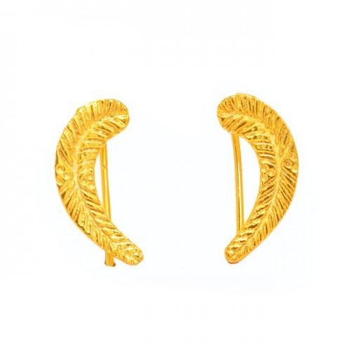 Latest Plain Handmade Designer 925 Sterling Silver Gold Plated Earrings