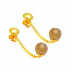 Labradorite Plain Round Balls Shape Gemstone 925 Sterling Silver Stud Earrings