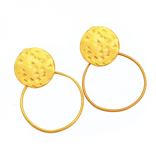 925 Sterling Silver Plain Handmade Gold Plated Hammered Stud Dangle Earrings