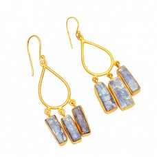 Blue Sapphire Rough Gemstone 925 Sterling Silver Gold Plated Dangle Earrings