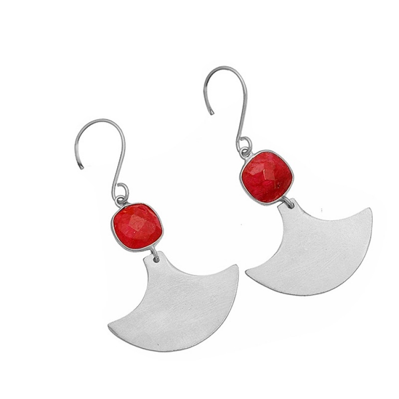 Cushion Shape Ruby Gemstone 925 Sterling Silver Gold Plated Dangle Earrings