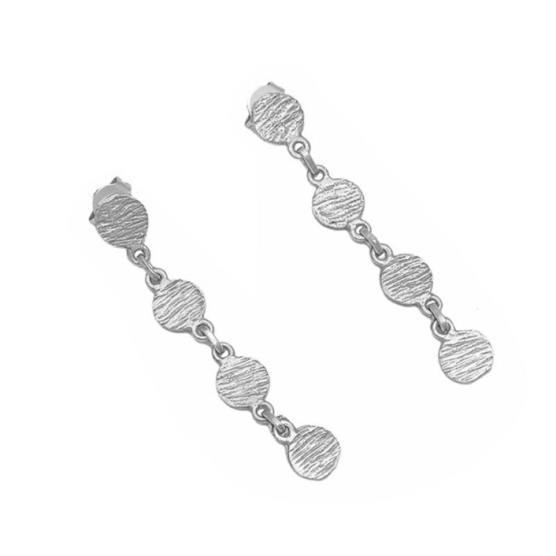 Hammered Designer Plain 925 Sterling Silver Gold Plated Dangle Stud Earrings