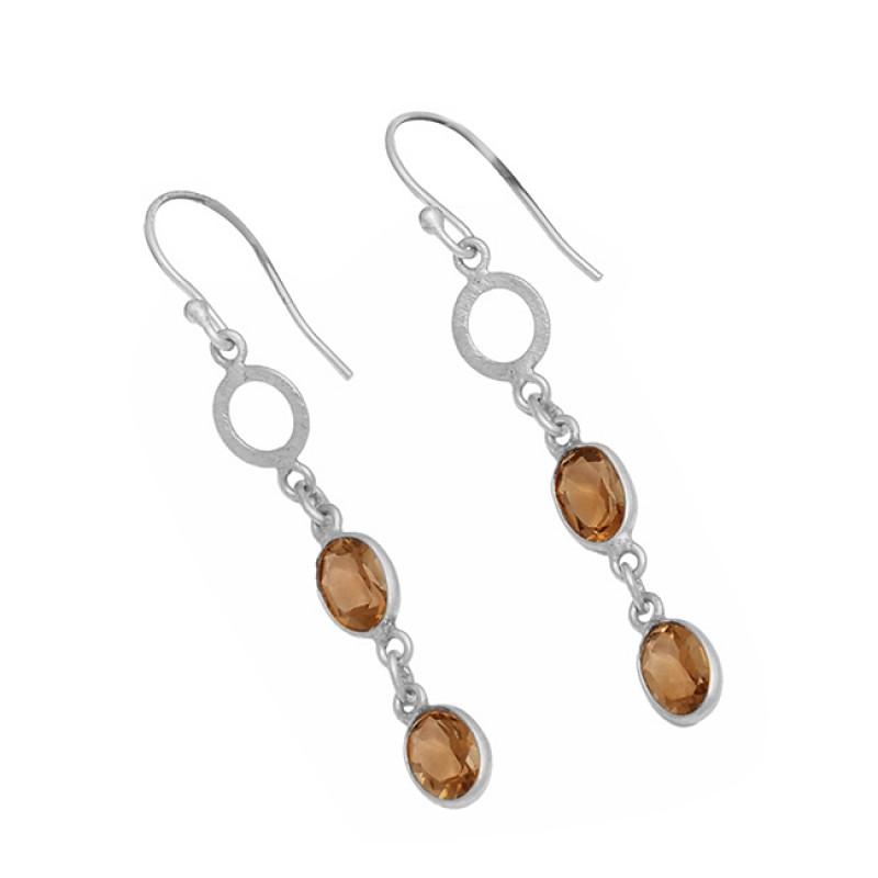 Oval Shape Smoky Quartz Gemstone 925 Sterling Silver Gold Plated Dangle Earrings