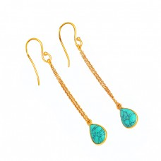 Blue Turquoise Pear Shape Gemstone 925 Sterling Silver Gold Plated Chain Earrings