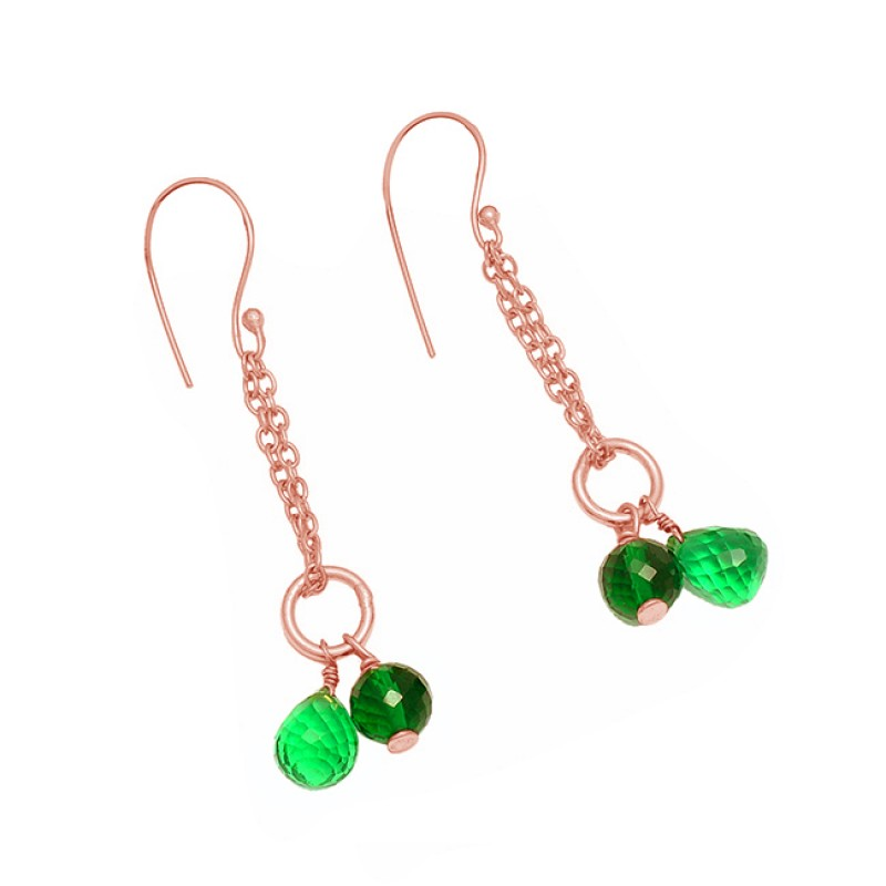 Green Quartz Pear Drops Round Balls Shape Gemstone 925 Sterling Silver Gold Plated Earrings