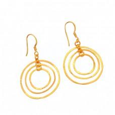 925 Sterling Silver Plain Stylish Designer Gold Plated Dangle Earrings