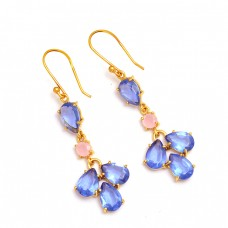 Blue Pink Quartz Pear Shape Gemstone 925 Sterling Silver Gold Plated Dangle Earrings