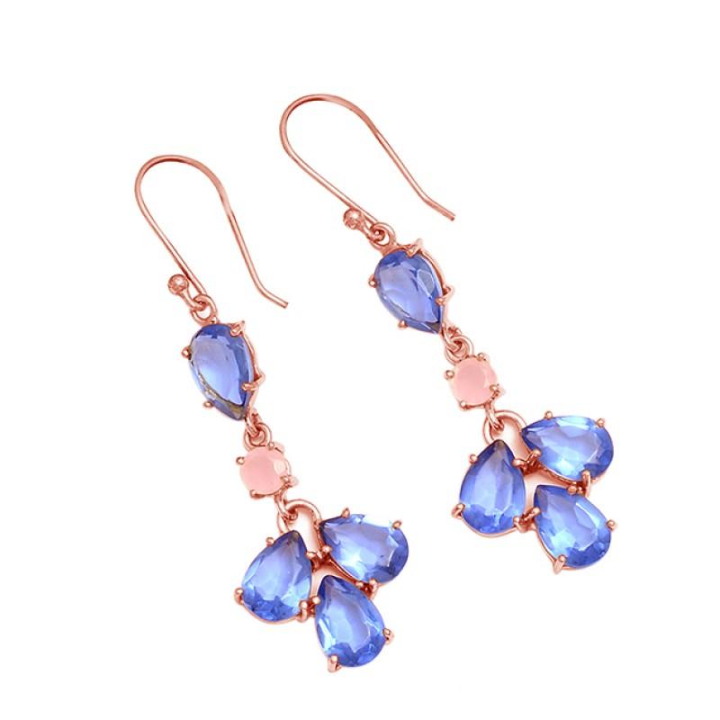 Blue Pink Quartz Pear Shape Gemstone 925 Sterling Silver Gold Plated Dangle Earrings