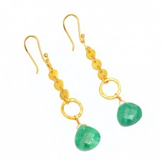 Emerald Heart Shape Gemstone 925 Sterling Silver Gold Plated Designer Dangle Earrings