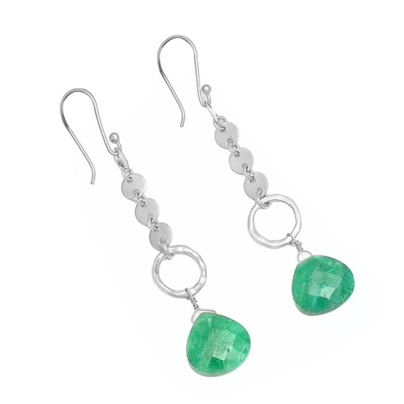 Emerald Heart Shape Gemstone 925 Sterling Silver Gold Plated Designer Dangle Earrings
