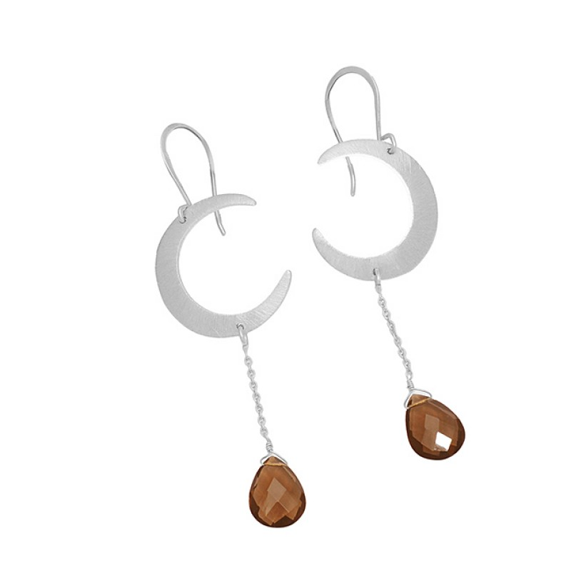 "Smoky Quartz Gemstone ""C' Shape Designer 925 Sterling Silver Gold Plated Dangle Earrings"