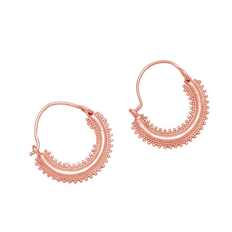 925 Sterling Silver Designer Handmade Plain Gold Plated Stylish Hoop Earrings