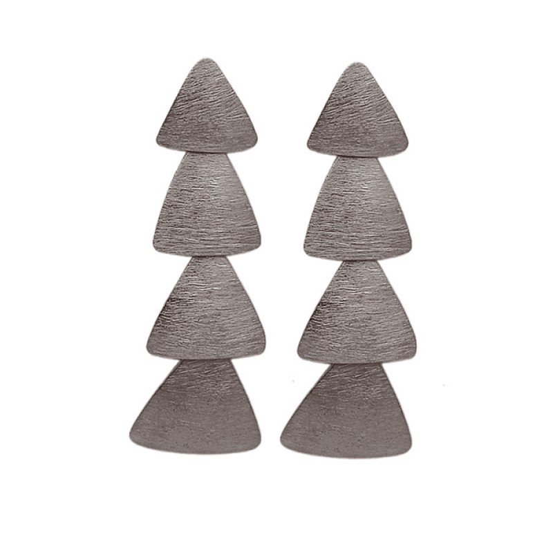 Triangle Shape Designer Plain 925 Sterling Silver Gold Plated Stud Dangle Earrings