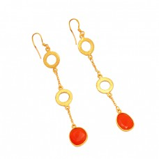 Carnelian Oval Shape Gemstone 925 Sterling Silver Gold Plated Designer Dangle Earrings