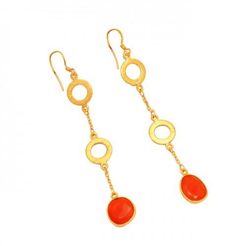 Carnelian Oval Shape Gemstone 925 Sterling Silver Gold Plated Designer Dangle Earrings