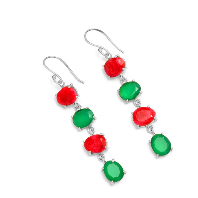 925 Sterling Silver Ruby Green Onyx Gemstone Gold Plated Prong Setting Earrings