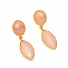 Pink Chalcedony Gemstone 925 Sterling Silver Gold Plated Dangle Stud Earrings
