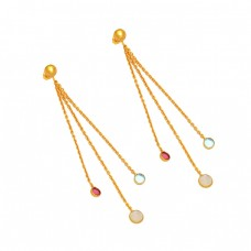 925 Sterling Silver Chain Hanging Round Shape Gemstone Gold Plated Dangle Stud Earrings