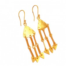 Fashionable Handcrafted Designer Plain 925 Sterling Silver Gold Plated Dangle Earrings