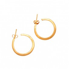 925 Sterling Silver Handmade Designer Plain Hoop Gold Plated Earrings