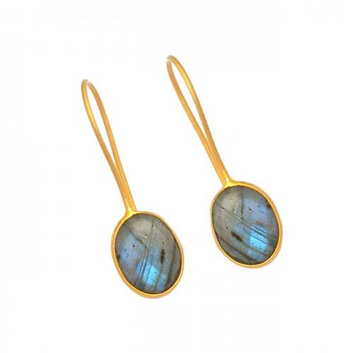 Oval Shape Labradorite Gemstone 925 Sterling Silver Gold Plated Earrings