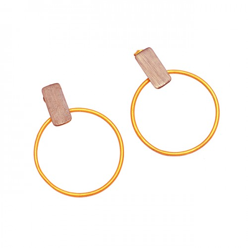 Latest Designer Plain Handcrafted 925 Sterling Silver Gold Plated Dangle Stud Earrings