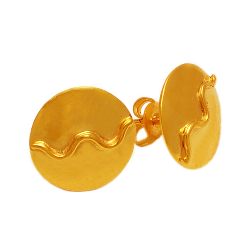 Attractive Designer Plain 925 Sterling Silver Gold Plated Stud Earrings