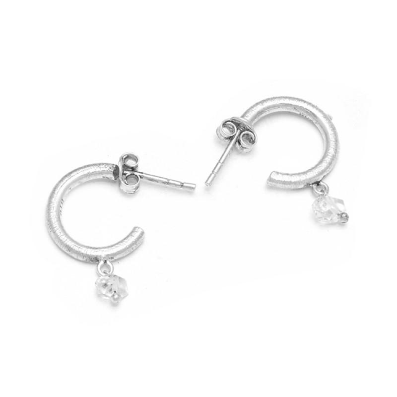 Crystal Quartz Gemstone 925 Sterling Silver Handmade Designer Stud Earrings