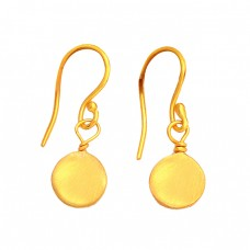 925 Sterling Silver Plain Handmade Simple Designer Gold Plated Earrings