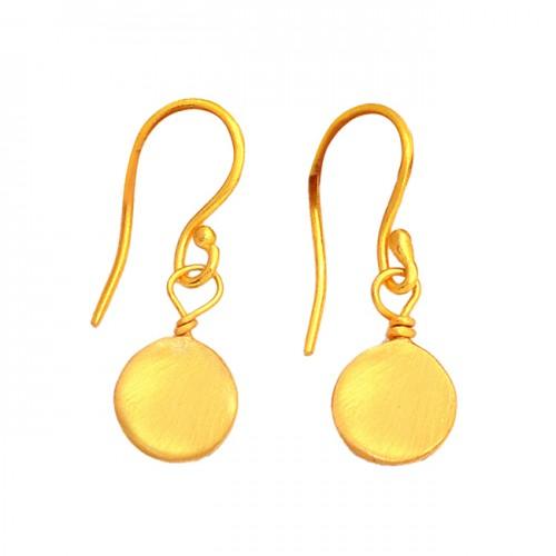 925 Sterling Silver Plain Handmade Simple Designer Gold Plated Earrings