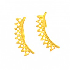 925 Sterling Silver Filigree Style Plain Handmade Designer Gold Plated Earrings