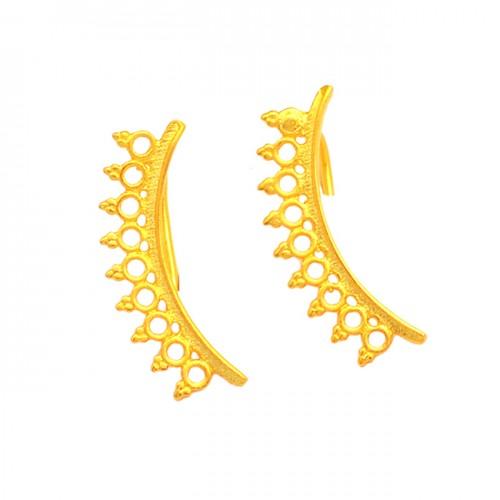925 Sterling Silver Filigree Style Plain Handmade Designer Gold Plated Earrings