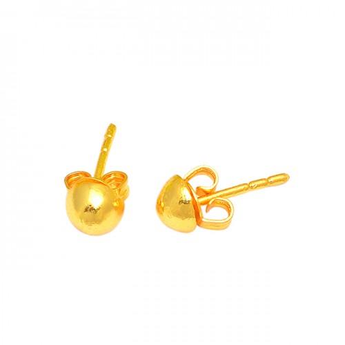 925 Sterling Silver Plain Simple Designer Gold Plated Stud Earrings